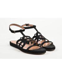74450116b57a3 Alaïa - Black Suede Cut Out Ankle Strap Flat Slide Sandals - Lyst