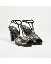 """Calleen Cordero - Gray & Black Leather Embellished """"katra"""" Sandals - Lyst"""
