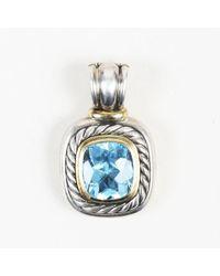 David Yurman - Blue Topaz Sterling Silver & 14k Gold Pendant - Lyst