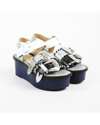 "Toga Pulla - Blue Multi Leather ""western Buckle Platform"" Sandals - Lyst"