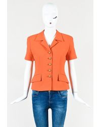 Dior | Orange Quilted Cotton Blend Short Sleeve Button Up Jacket | Lyst