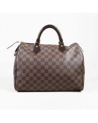 "Louis Vuitton - Brown ""damier Ebene"" Coated Canvas ""speedy 30"" Top Handle Bag - Lyst"