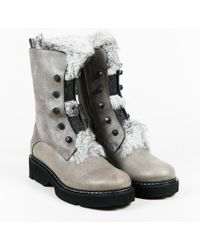 """Henry Beguelin - Nwot Grey Leather & Rabbit Fur """"foster"""" Boots - Lyst"""