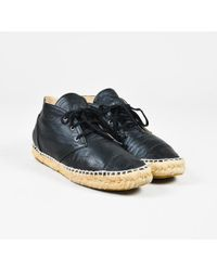 Chanel - Black Leather High Top Lace Up Espadrille Sneakers - Lyst