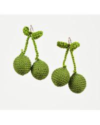 "Rosie Assoulin - Nwot Green Crochet Knit ""pair Of Cherry"" Drop Earrings - Lyst"