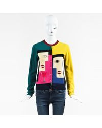 MUVEIL - Multicolour Cotton Colorblock Embellished Cardigan - Lyst