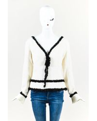 Chanel - Off White Sequined Wool Tweed Black Fringe Trim Ls Top - Lyst