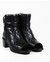 Chanel - Quilted Lambskin Ankle Boots - Lyst