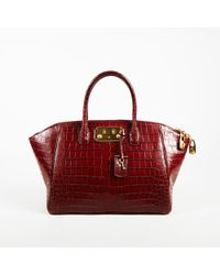"VBH - Edition 101/300 Red Crocodile Skin Top Handle ""brera"" 34 Cm Satchel Bag - Lyst"
