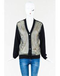 Jean Paul Gaultier - Black & White Wool Blend V Neck Cardigan - Lyst
