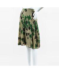 Dries Van Noten - Beige Green & Black Pleated Floral Print Layered Skirt - Lyst
