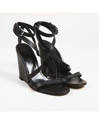 Hermès - Brown Leather Open Toe Wedge Heel Sandals - Lyst