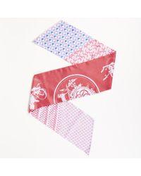 """Hermès - Pink Blue Silk """"twilly"""" Maxi Scarf - Lyst"""