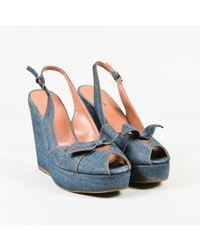 Alaïa - Blue Denim Topstitch Peep Toe Platform Slingback Wedges - Lyst
