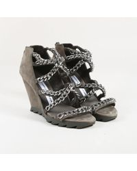 Camilla Skovgaard - Grey Suede Silver Tone Chain Link Wedge Sandals - Lyst