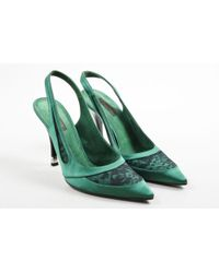 Louis Vuitton - Green Black Lace & Satin Pointed Toe Slingback Court Shoes - Lyst