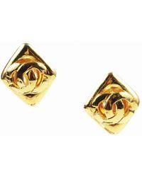 Chanel - Vintage Gold Tone Metal 'cc' Diamond Shape Clip On Earrings - Lyst