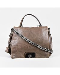 "Céline - Brown Pebbled Leather Silver Tone Chain Link ""frame"" Shoulder Bag - Lyst"