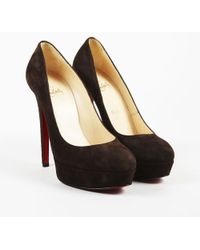 "Christian Louboutin - Brown Suede ""bianca"" Court Shoes - Lyst"