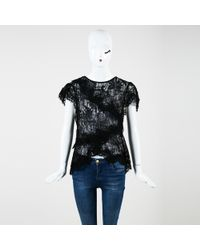 Isabel Marant - Black Lace Cap Sleeve Sheer Tiered Top - Lyst