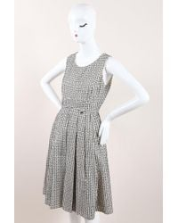 Chanel - Black White Cotton Silk Woven Sleeveless Pleated A Line Dress - Lyst