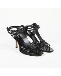 Dior - Dior Black Leather T-strap Sandals - Lyst