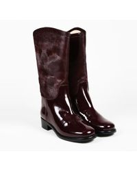 """Chanel - Fall 2012 """"bordeaux"""" Red Pony Hair & Patent Leather Calf High Boots - Lyst"""