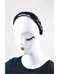 Chanel - Blue Satin Sequined Headband - Lyst