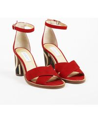 "Gabriela Hearst - Red Multicolour Suede ""john"" Sandals - Lyst"