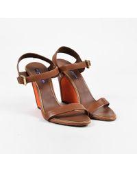 Ralph Lauren - Purple Label Brown & Orange Leather & Suede Wedge Sandals - Lyst