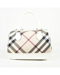 7295baabcdbe Burberry - Checked Coated Canvas Handbag - Lyst