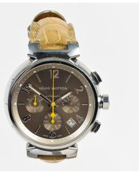 """Louis Vuitton - Stainless Steel Taupe Alligator Chronograph """"tambour"""" Watch - Lyst"""