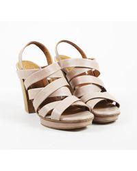 Coclico - Beige Leather Strappy Platform Sandals - Lyst