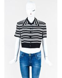 Dior | Black & White Short Sleeve Striped Cropped Jacket | Lyst