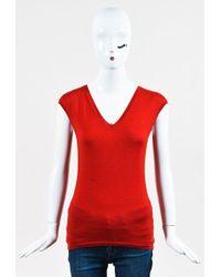 Dior - Red Cashmere & Silk V Neck Cap Sleeve Sweater - Lyst