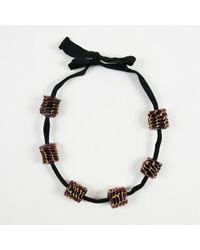 Marni - Black Ribbon Purple Beaded Tie Back Necklace - Lyst