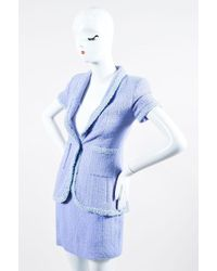 Chanel - Boutique 95p Periwinkle Metallic Tweed Sequin Trim Ss Skirt Suit - Lyst
