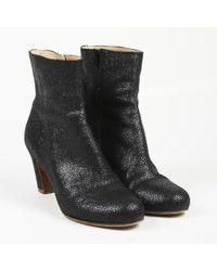 Maison Margiela - Metallic Black Textured Leather Ankle Boots - Lyst