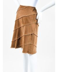 Moschino Jeans - Brown Corduroy Fringe Trim Skirt - Lyst