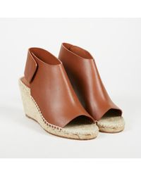 "Céline - Nwt ""caramel"" Brown Leather Open Toe Espadrille Wedge Booties Sz 38 - Lyst"