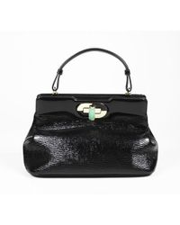 "BVLGARI - Bvlgari Black Patent Leather Top Handle ""isabella Rossellini"" Satchel Bag - Lyst"