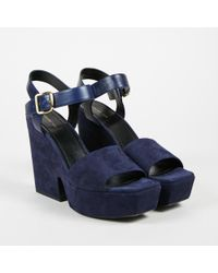 "Céline - Nwot ""navy"" Blue Suede & Leather Platform Wedge Sandals - Lyst"