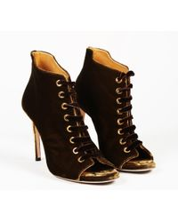 "Jimmy Choo - Brown Velvet Lace Up ""mavy"" Booties - Lyst"