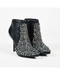 "Vera Wang - Black Leather Silver Stud Sequin ""beacon"" Ankle Booties - Lyst"