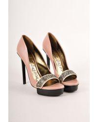 Lanvin - Pink Leather Embellished Platform Court Shoes - Lyst