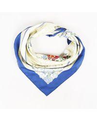 """Hermès - Multicolour Silk Twill """"jeux De Paille"""" Floral Print Scarf - Lyst"""