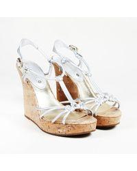 Céline - Silver Leather Cork Wedge Sandals - Lyst