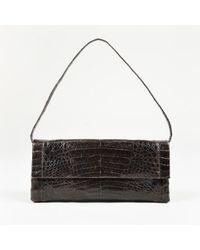 Nancy Gonzalez - Dark Brown Genuine Crocodile Front Flap Clutch Bag - Lyst