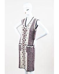 Chanel - Cream Red Navy Alpaca Wool Cashmere Knit Sleeveless Sweater Dress - Lyst