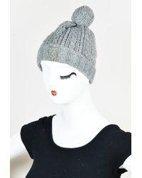 Chanel - Grey Cashmere Cable Knit Pom Pom Beanie Hat - Lyst a4990fedf9a3